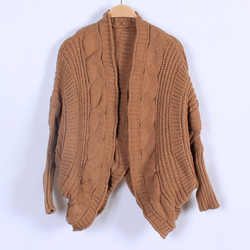 Spring Autumn Coarse Wool Cardigans Women Brand Fashion Batwing Sleeve Sweaters Casual Women Clothing 8 Colors