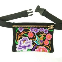 New Coming Waist bags!Hot Vintage Ethnic embroidery embroidery bag canvas arm waist packs travel portable shoulder bags holder