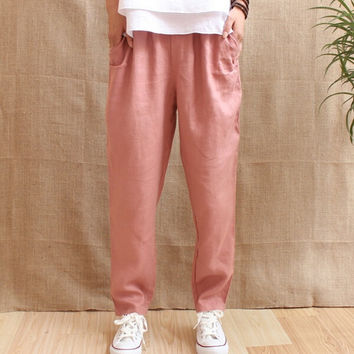 Linen Trousers Women 2017 New Fashion Ladies Casual Linen Pants 100% Linen Full Length Free Shipping