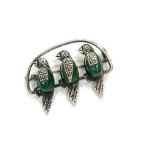 Sterling Bird Brooch, Parakeets Brooch / Pin, Three Birds on Perch, Faux Malachite, 1940s, Mexican Sterling Vintage Jewelry