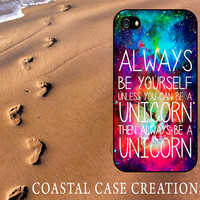 Galaxy Space Unicorn Quote Apple iPhone 4 and 5 Hard Plastic or Rubber Phone Case Cover Original Design