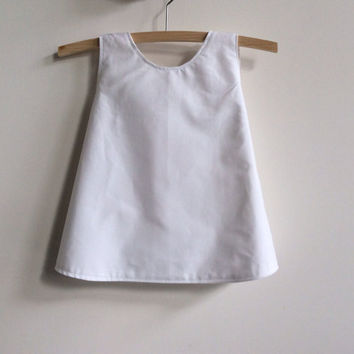 White baby dress, crossover back pinny, ready to ship size 6 - 12 months, MADE TO ORDER in sizes 000, 00, 0, 1 or 2, upcycled baby clothing