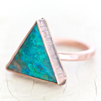Chrysocolla Triangle Copper Ring - Hand Cut Ethically Sourced BOLD Ring Set in Copper Textured Oxidized Bezel and Setting - Boho Chic