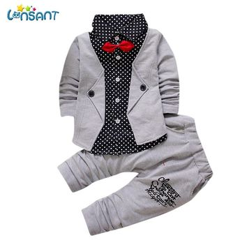 LONSANT Handsome Kid Baby Boy Gentry Long Sleeve Clothes Set Formal Party Christening Wedding Tuxedo Bow Suit