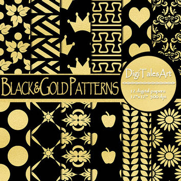 "Black and gold foil digital paper ""Black&Gold Patterns"", scrapbooking, floral damask background, heart, apple, geometric, invitations, cards"