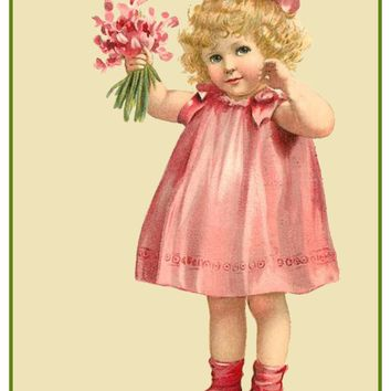 Vintage Little Girl Valentine Sweet Pea Flowers Heart Love by Frances Brundage Counted Cross Stitch or Counted Needlepoint Pattern