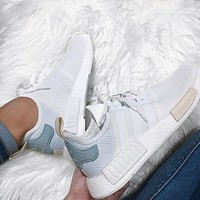 """Adidas"" NMD  Fashion Casual Sports Shoes white Mint green"