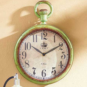 Vintage Metal Wall Clock Large Green Distressed Rustic Primitive Country Decor
