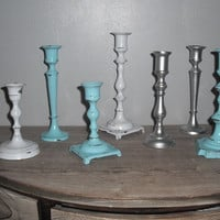 7 pc Candlestick grouping ... Tiffany blue Silver White ... Wedding Holiday Romantic shabby chic