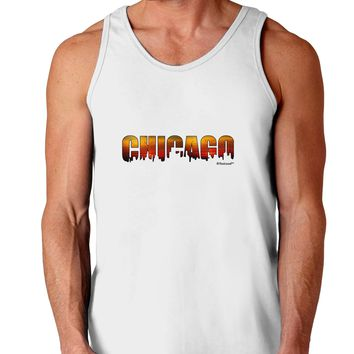 Chicago Skyline Cutout - Sunset Sky Loose Tank Top  by TooLoud