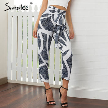 Simplee chiffon print high waist harem pants Women bow summer 2017 casual pants female zipper loose pleated trousers bottoms