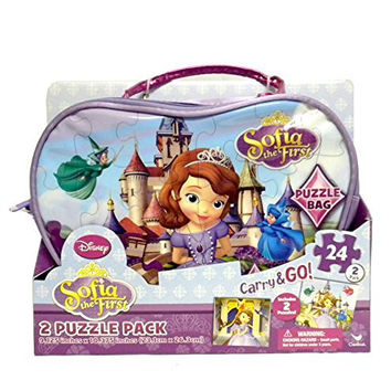 Disney Princess Sofia the First Carry and Go Bag with 2 Puzzles