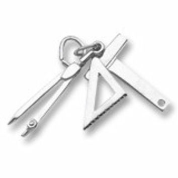 Draftsman Tools Charm In Sterling Silver