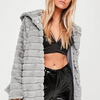 Missguided - Grey Hooded Pelted Faux Fur Coat