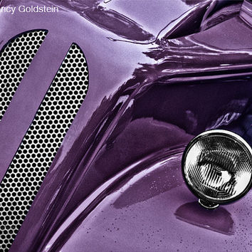 Photo, old car, purple, antique classic vintage restored hotrod hot rod, chrome grill, headlight, car photography, fine art print