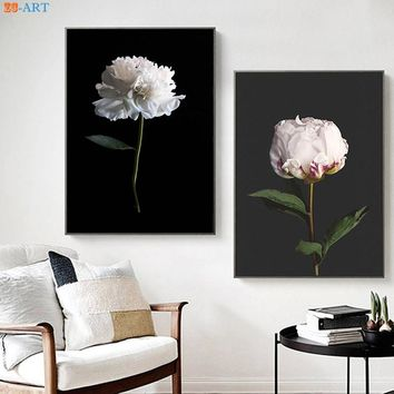 White Peony Flowers Posters and Prints Floral Wall Art Modern Canvas Painting Nursery Picture Bedroom Home Decor