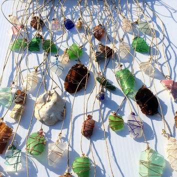 Beach Glass Sun Catcher Sea Glass Art Whimsical Decor Beach Theme Sea Shell Driftwood Mobile Eco Friendly Upcycled Glass Lake Erie