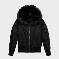 NYLON TWILL DOWN BOMBER WITH FAUX FUR HOOD - Outerwear - Clothing - DKNY - Donna Karan