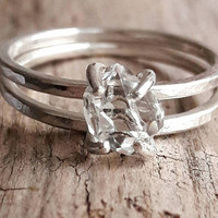 Herkimer Diamond and Sterling Silver Ring Set - Silver Wedding Ring Set - Quartz Crystal Bridal Set - Boho Wedding Rings - Raw Crystal Rings