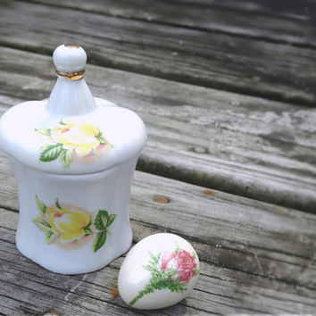 Vintage Mini Ring Trinket Box Porcelain with Yellow Roses
