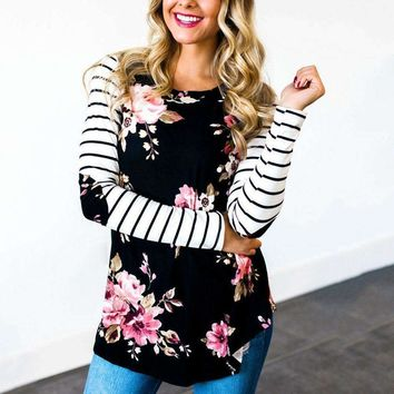 T Shirt Striped Sleeve Floral Elbow Patch Baseball Tees O Neck Full Long Raglan Sleeve Casual Tops