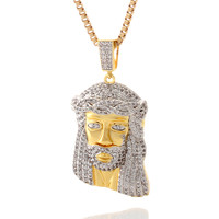 King Ice CZ Jesus Teardrop Necklace