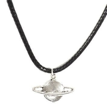 Planet Saturn Necklace Outer Space Silver Tone Pendant NP06 Fashion Jewelry