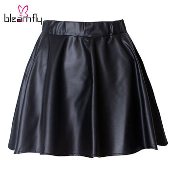 Women Winter Puff Solid PU Leather Skirt Pleated Sexy Women Autumn Skirt Mini High Waist Skirt for Female Black Tutu Skater