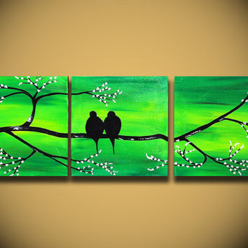 "Landscape Modern ORIGINAL Fine Art LOVE Birds Tree Branches 36"" Contemporary Green Large Abstract Painting Handmade ready to hang Craft"