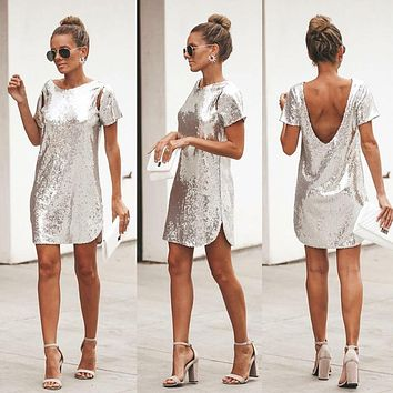 tabloid sequin cut out shift dress vintage sliver short sleeve backless dresses for new year cute birthday vestidoes