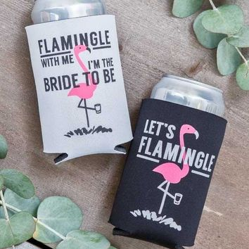 Cute Flamingo Bachelorette Party Koozies | Flamingle with Me I'm the Bride to Be