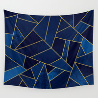 Blue stone with gold lines Wall Tapestry by Elisabeth Fredriksson