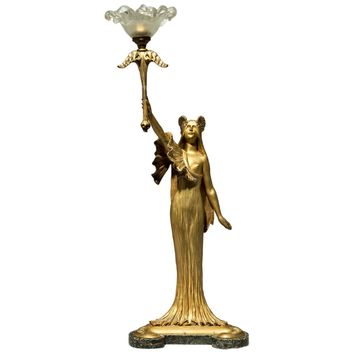 Louis Chalon, Cast by E. Colin and Cie, Art Nouveau, Gilt Bronze Table Lamp