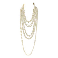 CHANEL 6 Strand Faux Pearl Infinity Necklace NIB RT $3,675