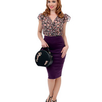 Eggplant Purple High Waist Knit Pencil Skirt