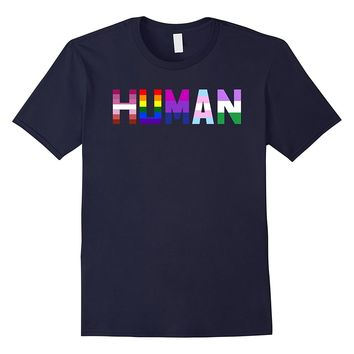 HUMAN Flag LGBT Gay Pride Month Transgender Ally T Shirt