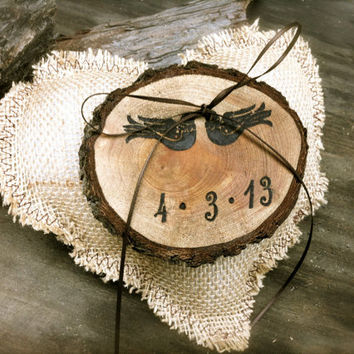 Rustic wedding ring bearer pillow holder country burlap weddings decorations