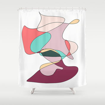Abstract 1 (white) Shower Curtain by DuckyB (Brandi)