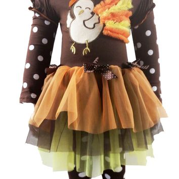 2PC Little Girl's Thanksgiving Dress Little Turkey Brown Polka Dots Tutu