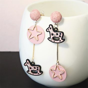Witch Baby Rocking Horses and Stars Asymmetrical Dangle Earrings