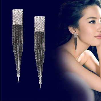Dangle Fringe  Bohemian Gift Women Lady Long Tassel Earrings Clip Vintage = 1928706948