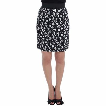 Dolce & Gabbana Black Stretch Floral Print Pencil Skirt