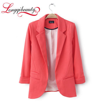 2016 New spring Autumn Women Blazer Longqibeauty Fashion Blazers For Women Solid None Button Ladies Blazer