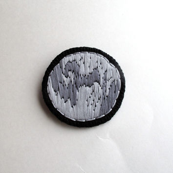 Moon brooch hand embroidered choose one crescent moon full moon or quarter moon