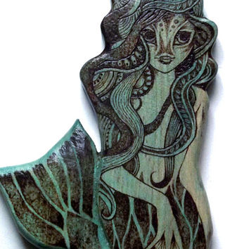 Mermaid Wall Hanging with Pyrography (Wood burning) mermaid Carving in Beech, bathroom, mythical, Wall art, wood carving, sea maiden, uk