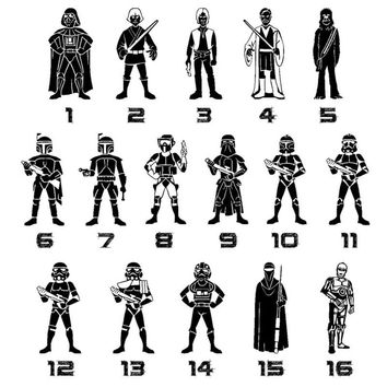 Star Wars Family Of Dad Car Sticker 1-13 Cartoon Motorcycle Vinyl Decals Black C7-1313