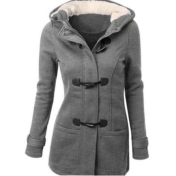 Winter Coat Women 2015 New Fashion Women Wool Blends Slim Hooded Collar Zipper Horn Button Long Coats Outerwear special button F231