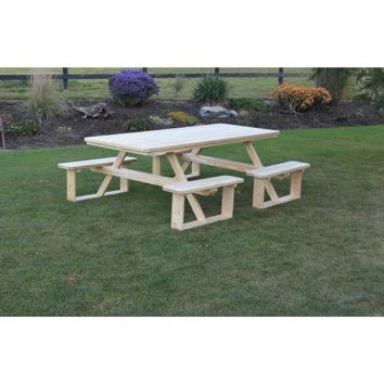 "A & L Furniture Co. Pressure Treated Pine 8' Walk-In Table Specify for Free 2 "" Umbrella Hole  - Ships FREE in 5-7 Business days"