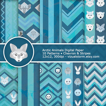 Arctic Animals Winter Digital Paper - Chevron & Stripes, aqua and navy blue printable backgrounds, animal craft papers, Buy 2 Get 1 Free