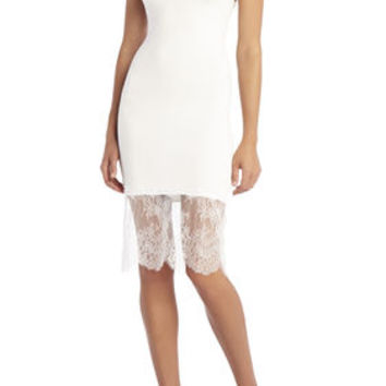 Bridgett Lace-Trim Slip Dress - White